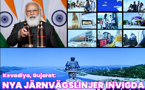 Indien flaggar av åtta nya tåg anslutna till Kevadiya i Gujarat