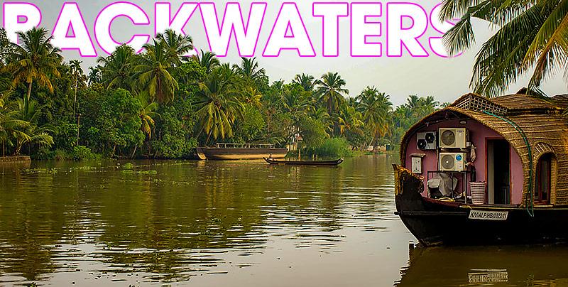 Backwater med Alappuzha och Kollam