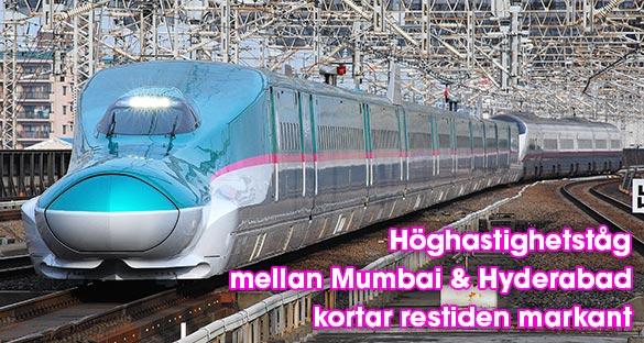 Nytt höghastighetståg ska korta restiden mellan Mumbai och Hyderabad trefaldigt