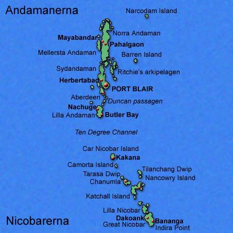 Karta över Andamanerna och Nikobarerna