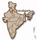 Chandigarhs placering i Indien