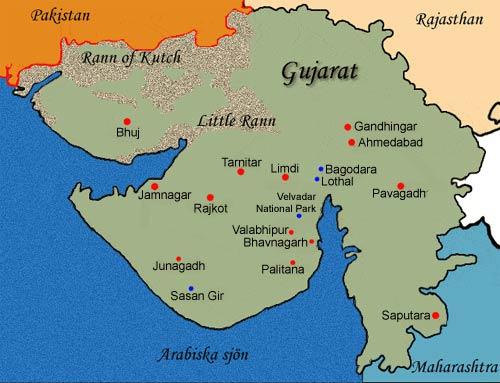 Karta över Gujarat