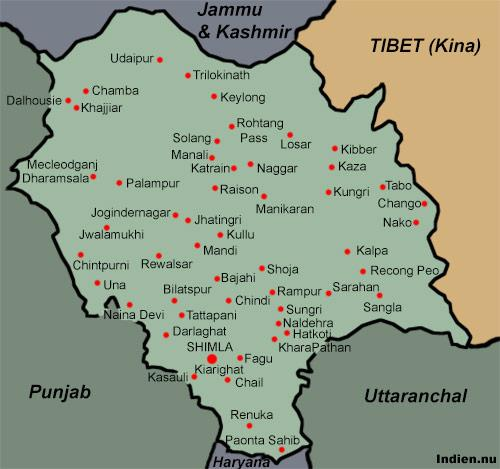 Karta över Himachal Pradesh med Manali, Shimla, Dharamsala, Lahul, Spiti mm