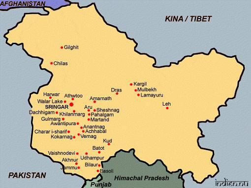 Karta över Jammu och Kashmir