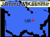 Leh Ladakhs placering i Indien