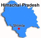 Shimlas placering i Indien