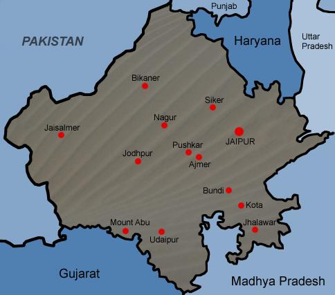 Karta över Rajasthan