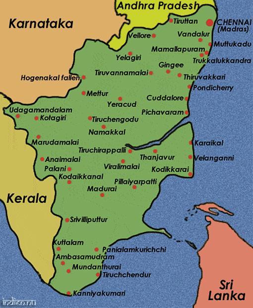 Karta över Tamil Nadu