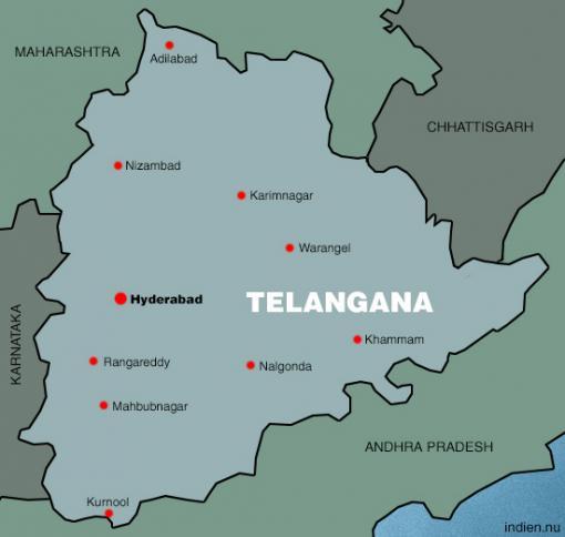 Karta över Telangana