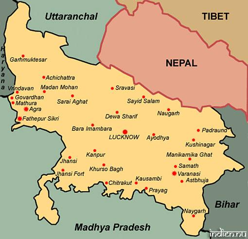 Karta över Uttar Pradesh