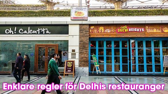 Enklare regler för restauranger i Delhi