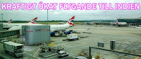 Ökat flygande till Indien