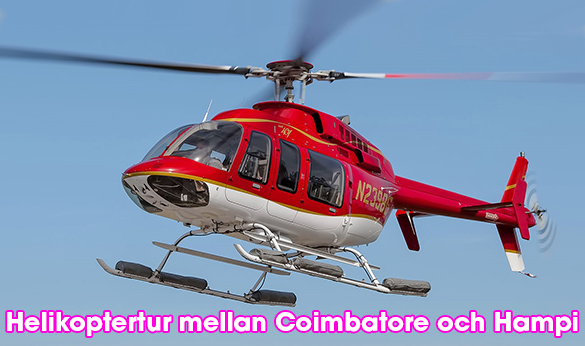 Helikopter mellan Coimbatore och Hampi i Indien