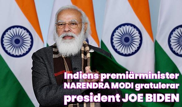 Indiens premiärminister gratulerar USAs president Joe Biden