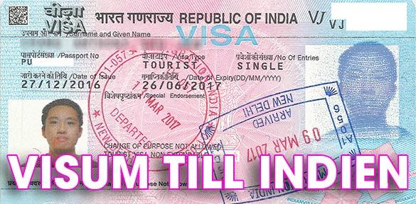 Visum till Indien